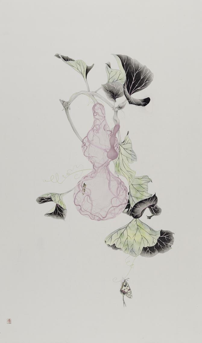 康春慧-《执花寄月  ·蝶粉》-95x56cm-设色纸本-2016