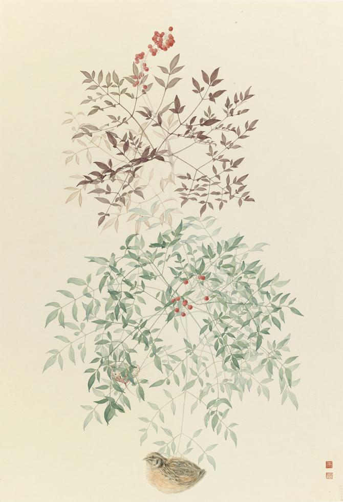康春慧-《三春鸟》-93x64cm-设色纸本-2015